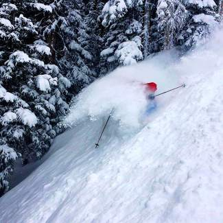 Liberty Skis rep Time Dyer gets into the deep stuff on the men's Origins at Beaver Creek in mid-December.