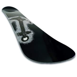 The 2015-16 Dominion from Unity Snowboards in Silverthorne. The board is an all-mountain freeride deck with a directional shape and float rocker construction (slightly longer nose with reverse camber, traditional camber beterrn the bindings, slightly blunted tail with reverse camber).