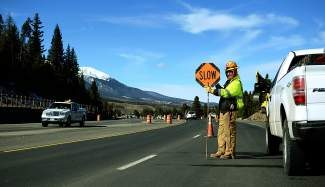 The northbound lane of Colorado Highway 9 near Breckenridge was reduced to one lane Thursday. On Saturday crews will begin winding down construction efforts in anticipation for the ski season.