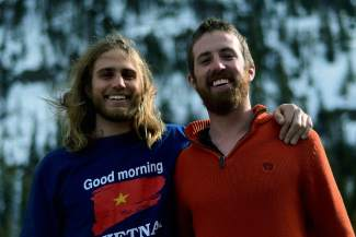 Joey Bartl (left) 25 and Tyler Wood (right) set out to complete the Pacific Crest Trail last summer, a 2,659-mile route running the length of the U.S. West Coast. Wood completed the journey solo five months after he started and is now back in Colorado for his third season as a Copper Mountain snowboard instructor.