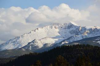 The summit of Pikes Peak from the Barr Trail