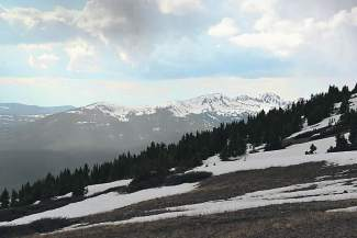 The faraway Gore Range from the Wheeler Trail.