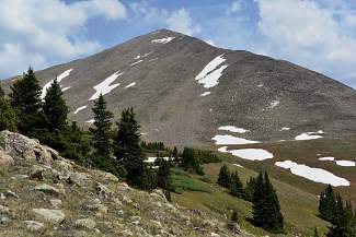 The great pyramid of Huron Peak (14,003 feet) stands guards over the South Clear Creek watershed.