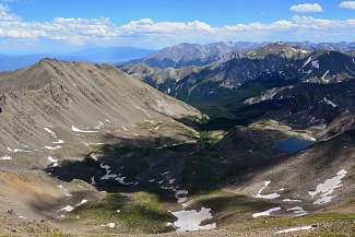 North Cottonwood Canyon lies south of Mount Harvard (14,420 feet), with Mount Yale (14,196 feet) on the right, Mount Princeton (14,197 feet) in the center and Mount Columbia (14,073 feet) on the left.