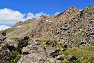 Mount Harvard (14,420 feet) has several false summits that can be seen from the southeast approach at around 14,000 feet.