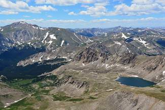 The more common approach to Mount Harvard (14,420 feet) is the path out of North Cottonwood Canyon below Mount Yale (14,196 feet).
