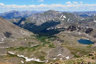 Horn Fork Basin lies at the southern base of Mount Harvard, above North Cottonwood Canyon.