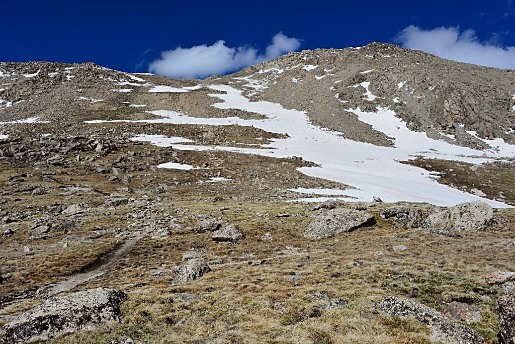 The trail up Mount Yale (14,196 feet) ascends one thousand feet from the tundra base to the saddle of the mountain at 13,945 feet.