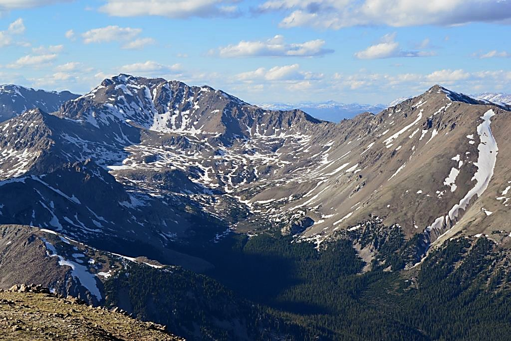 Mount Harvard (14,420 feet) and Mount Columbia (14,073 feet) are immediately north of Mount Yale (14,196 feet).