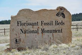 Florissant Fossil Beds National Monument, located south of Florissant and west of Colorado Springs.