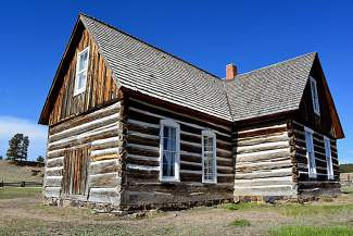 The Hornbek cabin on the original 16-acre farm claimed by Adeline Hornbek in 1878 under the Homestead Act. It's one of many remnants from settlers in the Pikes Peak area of southern Colorado.