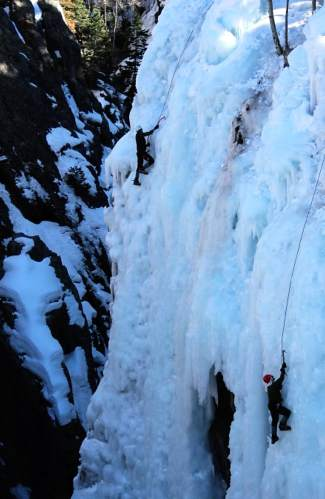 Two ice climbers make their way up a route at the Ouray Ice Park. The park is free and found just minutes from downtown Ouray, a sleepy former mining town that transformed into an ice-climbing Mecca when the park opened in 1995.