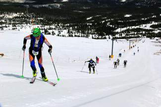 Skiers skin up Breckenridge's Peak 8 during the 2014 Imperial Challenge. Now in its 25th season, the race is a spring tradition for locals and a growing segment of elite ski mountaineering racers.