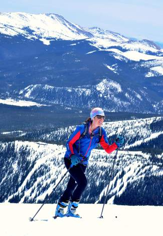 A competitor charges up the final uphill section of the 2016 Imperial Challenge at Breckenridge on April 22.