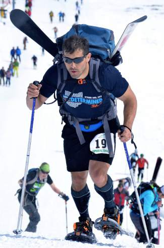 Justin Hawkins takes the final few steps to the top of the T-Bar during the 2016 Imperial Challenge at Breckenridge on April 22. Experts agree that living and training at extreme altitude, like Breckenridge at 9,200 feet, is most beneficial if you plan to race at or above that altitude.