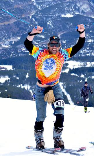 John Burns shows off the PBR tie-dye in the final stretch of the uphill section at the 2016 Imperial Challenge in Breckenridge on April 22.