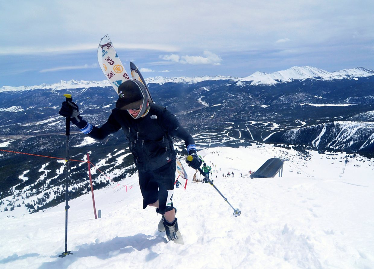 A splitboarder steps up and over the final ridge to the summit of Peak 8 during the 2016 Imperial Challenge at Breckenridge on April 22. Endurance athletes in Breckenridge constantly battle the extreme elevation, which impacts breathing and blood flow thanks to lower atmospheric pressure and thinner oxygen. In other wors, the body works harder just to stay moving.