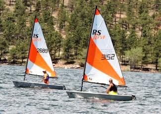 A duo of RS Tera boats charges to the mark at a junior regatta earlier this summer at Carter Lake on the Front Range. More than 100 youth sailors from across Colorado and the world come to Lake Dillon this weekend for the Rocky Mountain Junior Olympics regatta.