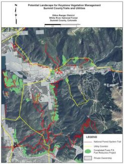This map shows areas around Keystone where the Forest Service has completed fuel reduction projects, in green. The red lines marks national forest trails, and the yellow lines are utility corridors.