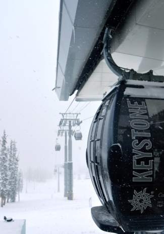 River Run Gondola in an opening day snowstorm at Keystone on Nov. 6. The resort saw 4 inches of fresh snow the night before opening.