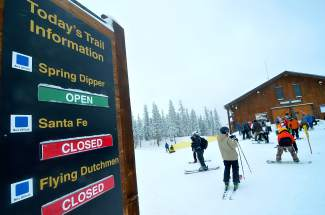 Skiers get ready for the first run of the season near the top of Spring Dipper at Keystone on opening day Nov. 6. Mother Nature welcomed skiers with 4 inches of fresh snow and flurries throughout the day.