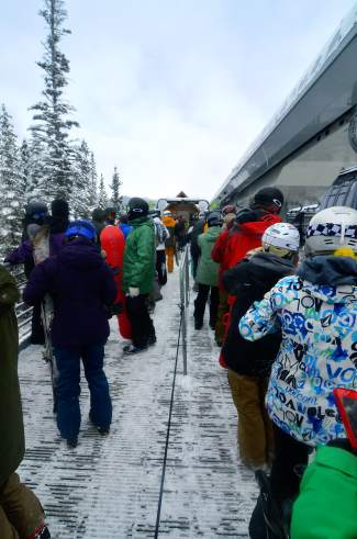 The line at the River Run Gondola mid-load station on Keystone opening day Nov. 6. The resort opened with two runs and two chairlifts, but no skier access to the base area. Skiing will be download-only for the rest of opening weekend.