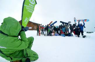 Keystone Epic Mix photographer Christian Parker lines up a massive group from Denver on opening day Nov. 6.