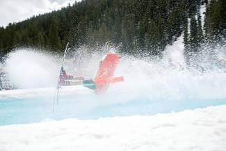 A costumed pond-skimmer finally dips into the drink with a splash at the 2015 Slush Cup in Keystone. The event returns on April 10 for closing day festivities at the Mountain House base area, beginning around 11 a.m.