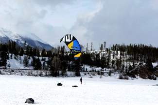 Snow kiting on Lake Dillon in early January. The small inlet at Farmer's Korner is a hotspot for the niche sport.