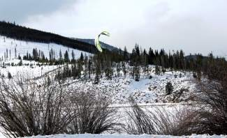 Snow kiters take flight over Lake Dillon in early January.