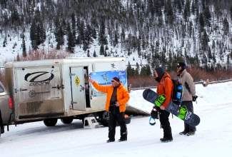 Two snow kiters get ready to head out on the southern edge of Lake Dillon in early January. The ice and snow on the lake usually aren't ready for the sport until then.