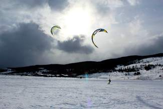 Snow kiting on Lake Dillon in early January.