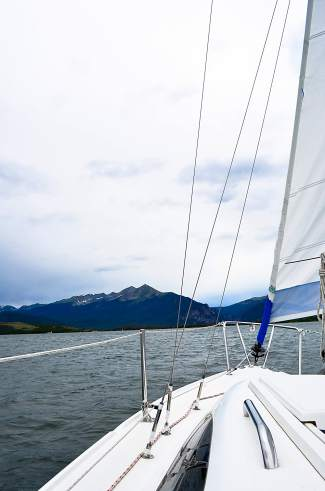 The ultimate test of sailing chops: On Lake Dillon, sailors must constantly readjust sails and bearings to account for unpredictable winds.
