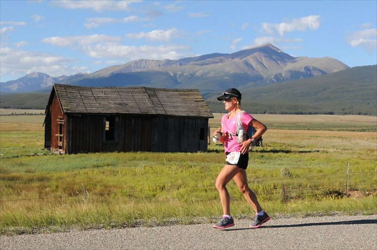 Meghan Morrissey runs past an abandoned cabin alongside the Leadville course in a previous Leadville Trail 100. Morrissey will be looking for her third finish of the Leadville Trail 100 on Saturday.