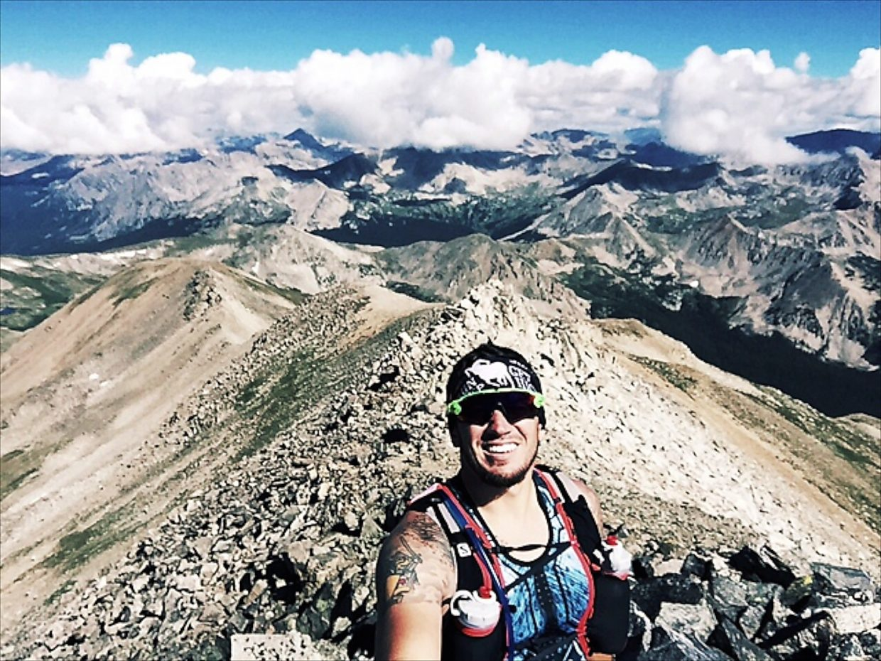 Lucas Rivera on top of Mount Yale. Rivera said he uses local 14ers as training runs for the hard climbs found on the Leadville 100 course. On this day, he ran Missouri Mountain and Mount Yale.