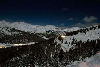 The view to the north of Loveland Pass on Christmas night, Dec. 25. It marked the first time in nearly four decades that a full moon fell on Christmas.