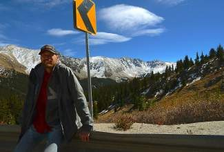 Summit Cove resident Pat Delaney returns Monday to Loveland Pass where he rescued a motorist who had been stranded overnight. The woman was traveling from Iowa to California when she slid off Loveland Pass and came to rest 20 yards below the roadway. The woman ended up spending the night there.