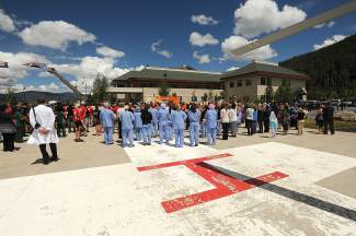 A view from the helipad at the blessing service for Patrick Mahany at St. Anythony Summit Medical Center on Thursday.