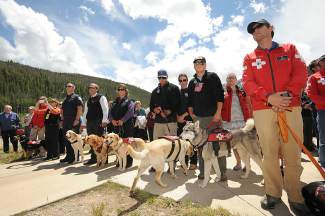 Members of the various ski patrols and avalanche dog community at the