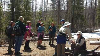 The tour group listens to stories about Masontown at its former site, which was hit by two seperate avalanches in 1912 and 1926. A recent avalanche in 2014 came down the same shoot though it was stopped by trees before reaching the townsite.