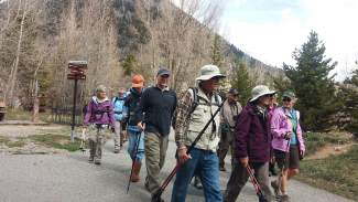 The Frisco Historic Park and Museum tour group sets off on the recpath en route to the Masontown trailhead.