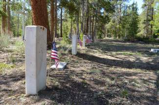 Breckenridge's Vally Brook Cemetery, which was recently listed in the National Register of Historic Places, is the site of a handful of military veteran headstones. Flags were placed alongside the markers on Monday, May 30, as part of events tied to the annual morning Memorial Day ceremony held there.