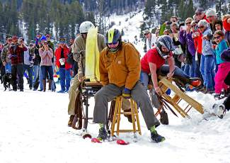 Locals take part in the barstool race before the skijoring event in Minturn Feb. 27.