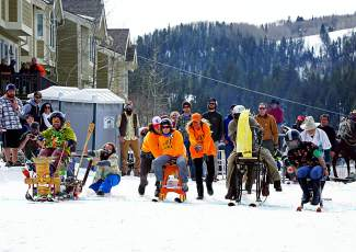 Locals get rowdy for a barstool race before the skijoring event in Minturn Feb. 27.