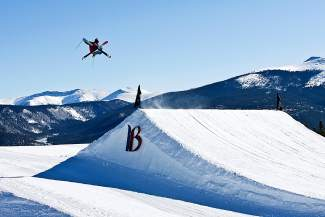 A skier airs over a jump in the terrain park at Breckenridge, home to the first-annual Mountain Dew Open. The contest debuts this weekend with a three-jump jam format for skiers and snowboarders, ages 13 years and older, with a $20,000 prize purse split between winners in each division.