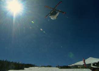 A skier at the inaugural Mountain Dew Spring Open on April 2 in Breckenridge.