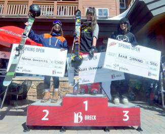 The women's ski podium at the Mountain Dew Spring Open on April 2: 1. Breck's Keri Herman 2. Nadia Gonzales 3. Leah Stroud