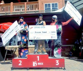 The women's snowboard podium at the Mountain Dew Spring Open on April 2: 1. Serena Shaw 2. Jessika Jenson 3. Silvia Mittermuller