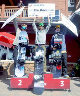 The men's snowboard podium at the Mountain Dew Spring Open on April 2: 1. Eric Willett 2. Asher Humphreys 3. Dylan Thomas