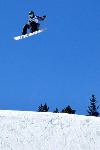 Eric WIllett at the inaugural Mountain Dew Spring Open on April 2 in Breckenridge. The 28-year-old Breckenridge native won the contest and took home the $3,000 grand prize for the male snowboard division.